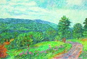 Mountain Road Pastels Prints - Dirt Road to the Blue Ridge Print by Kendall Kessler