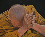 Tibet Drawings Prints - Dirty hands pure thoughts. Print by Gary Fernandez
