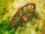 Impasto Oil Digital Art - Discarded Wagon Wheel by Ric Darrell