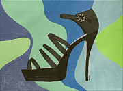 Shoe Mixed Media Prints - Disco Stiletto Print by Annabel Harrison