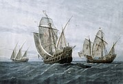 Discovery Of America 1492. The Caravels Print by Everett