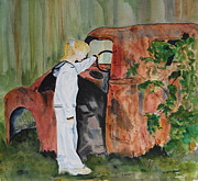 Rusty Truck Paintings - Discovery On An Old Walking Path by Carolyn Astle Nicolosi