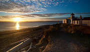 Sound Photos - Discovery Park Lighthouse Sunset by Mike Reid