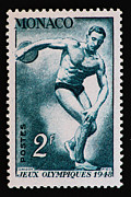 Athlete Prints Photos - Discus Vintage Postage Stamp Print by Andy Prendy