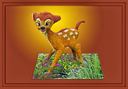 3d World Prints - Disney Floral 03 Bambi Print by Thomas Woolworth