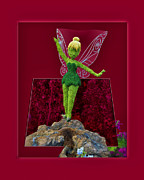 Tinker Bell Framed Prints - Disney Floral Tinker Bell 01 Framed Print by Thomas Woolworth