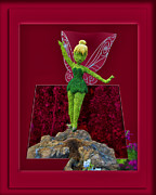 Tinker Bell Framed Prints - Disney Floral Tinker Bell 02 Framed Print by Thomas Woolworth
