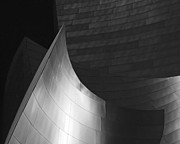 Sculptural Framed Prints - Disney Hall Abstract Black and White Framed Print by Rona Black