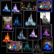 Disney Photographs Framed Prints - Disney Magic Kingdom Castle Collage Framed Print by Thomas Woolworth