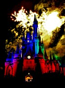 Cinderellas Castle Prints - Disney Night Fireworks Print by Benjamin Yeager