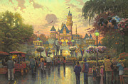 Fairies Posters - Disneyland 50th Anniversary Poster by Thomas Kinkade