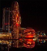 Ferris Wheel Night Photography Framed Prints - Disneyland Ferris Wheel Reflections Framed Print by Karon Melillo DeVega