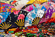 Paper Folding Art - Display Of Colorful Asian Folding Fans And Bracelets by Bernd Goettlicher