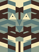Abstract Earth Tones Posters - Distant Faces Poster by Mark Weller