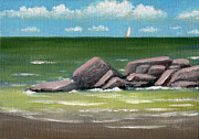 Sailboat Ocean Paintings - Distant Sail by Gordon Beck