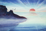 Sun Rays Painting Posters - Distant Shoreline Sunrise Watercolor Painting Poster by Michelle Wiarda