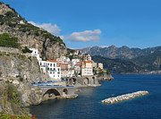 Mediterranean Landscape Posters - Distant view of Atrani on Amalfi coast Poster by Kiril Stanchev
