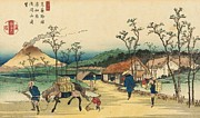 Cottages Posters - Distant View of Mount Asama from Urawa Station Poster by Ikeda Yoshinobu