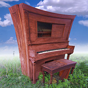 Square Art Digital Art Prints - Distorted Upright Piano 2 Print by Mike McGlothlen
