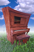 Player Prints - Distorted Upright Piano Print by Mike McGlothlen