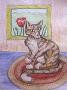 Striped Drawings - Distracted Cat by Cherie Sexsmith