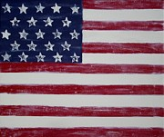 Contemporary Painters Prints - Distressed American Flag Print by Holly Anderson