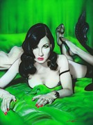 Musician Paintings - Dita Von Teese by Christian Chapman Art