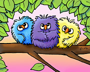 Kim Niles Digital Art - Ditzy Chicks by Kim Niles