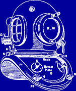 Technical Drawings Framed Prints - Dive Helmet Blueprint Framed Print by