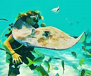 Diver And Stingray Print by John Malone