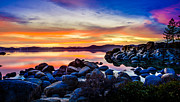 Sand Harbor Photos - Divers Cove Lake Tahoe Sunset by Scott McGuire