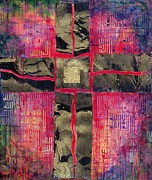 Rectangles Paintings - Divided Cross by Laila Shawa