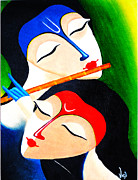 Modern Radha Krishna Paintings - Divine by Bhushan Nayak