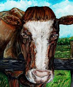 Beasts Paintings - Divine Bovine by Shana Rowe