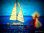 Jesus Walking On Water Posters - Divine Mercy Poster by Maryann  DAmico
