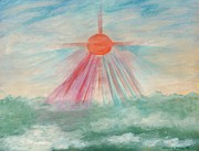 Sun Rays Painting Metal Prints - Divine Mercy Metal Print by Victoria Storey
