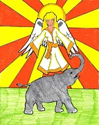 Angelic Drawings - Divine Protector by Wendy Coulson