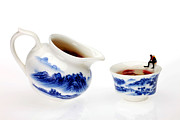 Red And Tea Prints - Diving among blue-and-white china miniature art Print by Paul Ge