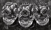Diving Helmet Photo Posters - Diving Helmets B W Poster by Daniel Hagerman
