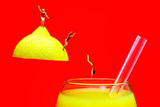 Lemon Art Digital Art Prints - Diving into orange juice Print by Paul Ge