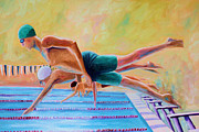 Team Paintings - Diving off the Block by Todd Bandy