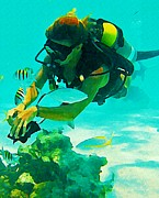 Fish Art Prints Photos - Diving the Reef by John Malone