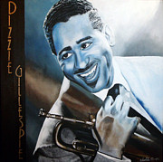 Famous Faces Painting Originals - Dizzie Gillespie by Chelle Brantley