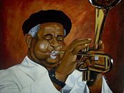 Black History Paintings - Dizzie Gillespie in Color by Chelle Brantley