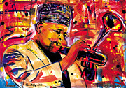 Harlem Mixed Media Acrylic Prints - Dizzy Gillespie Acrylic Print by Everett Spruill