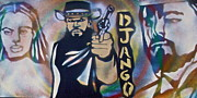 Stencil Art Paintings - DJANGO Three Faces by Tony B Conscious