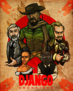Slavery Digital Art Metal Prints - Django Unchained Metal Print by Charles Styles