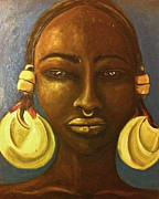 Gold Earrings Painting Originals - Djenne Woman  by Carrie M Moss