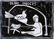 Block Print Paintings - Dlihc Dnoces White by Edgeworth Johnstone
