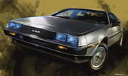 Delorean Posters - DMC Sports Car Poster by Uli Gonzalez